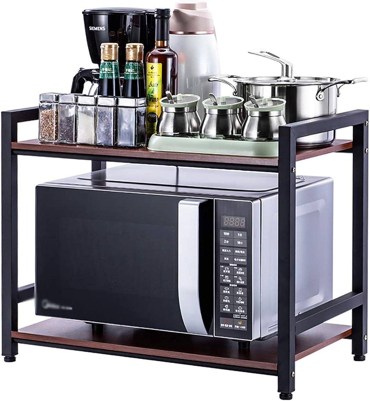 Kitchen Oven Shelf, 2-Layer Floor Wood Seasoning Storage Storage Household Microwave Shelf Rack (Size   60  36  50cm)
