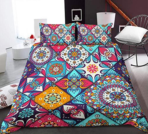 HGFHGD 7 Farben 3D geometrische Bettwäsche Mandala Blume Bettwäsche Erwachsene Student Kinder Bettwäsche groß und klein dreiteilig