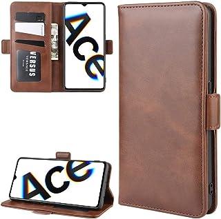For OPPO RENO ACE/OPPO REALME X2 PROダブルバックルクレイジーホースビジネス携帯電話ホルスターカード財布ブラケット機能(ブラック) HDJ (Color : Brown)
