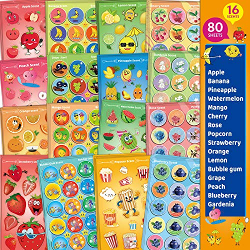 HORIECHALY Scratch and Sniff Stickers, 80 Sheets 16 Different Scents, Best Choice for Kids & Teachers & Parents as Reward Stickers, Gift, Party Favor, Goodie. Awesome Smelly Stickers.