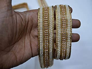 Trim by 9 Yard Wholesale Furnishing décor 1.3 inch Gold Sari lace Designer Border Online Kids wear Beaded Tape Decorative Embellishment Ribbon kundan zari Trimmings for Bags