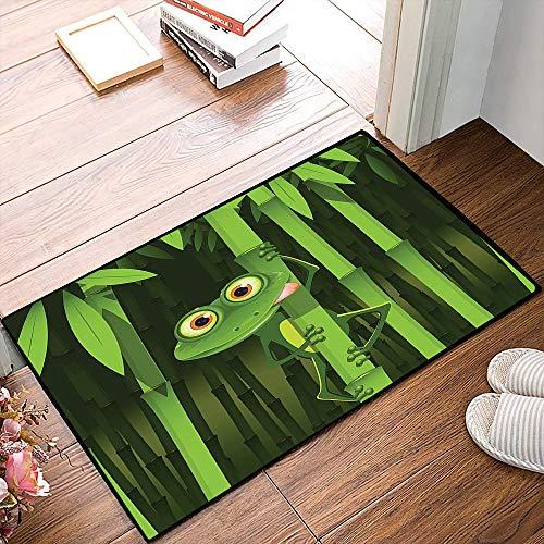 Rutschfester Badvorleger, Tierischer grüner Frosch, lustige Illustration des freundlichen Spaß-Frosches auf Stamm der Bambusd,Mikrofaser Duschvorleger Teppich für Badezimmer Küche Wohnzimmer 40x60 cm