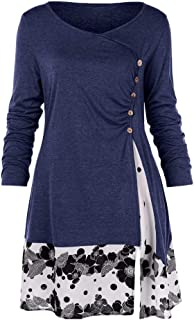 e6e9822e70c Women s Chiffon Patchwork Tunic Top O-Neck Long Sleeve Floral Bottom  Pleated T-Shirt