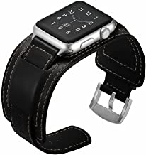 EloBeth Watch Bands Compatible with Apple Watch Band 42mm 44mm Series 5 4 3 2 1 Men Women iWatch Leather Band Buckle Cuff (42mm/44mm Cuff Black)