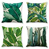 laime Throw Pillow Covers Natural Pattern Decorative Pillowcases 18x18inch (4 Pieces Set) Pillow Cases Home Car Decorative Leaf