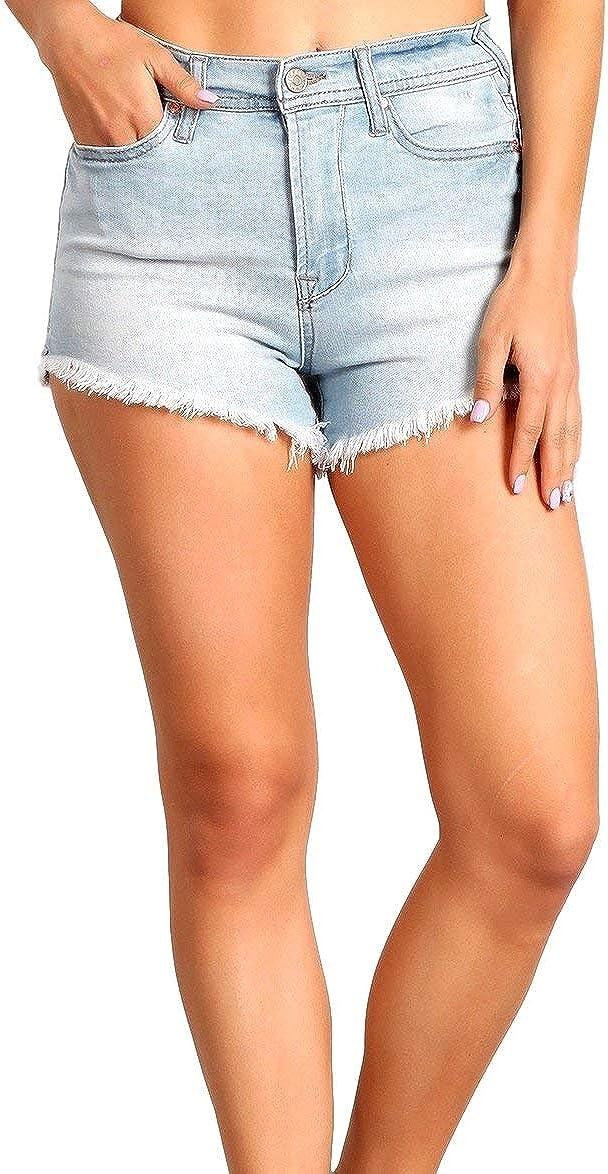 Celebrity Pink Women's High Rise Slit and Frayed Hem Shorts