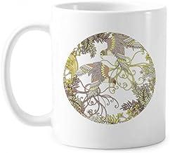 Leaves Flower Tree Bird Ukiyo-e Classic Mug White Pottery Ceramic Cup Gift With Handles 350 ml