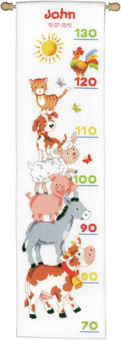 Vervaco Height Chart Farm Animals Year-end Weekly update annual account Stitch Counted Kit X Multi-Co