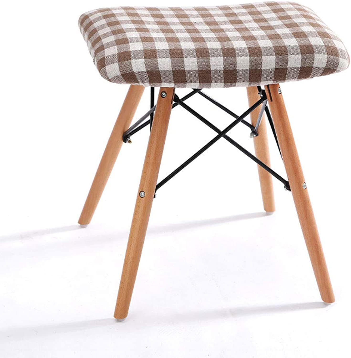 ZXW STOOLS- Solid Wood Dining Stool Fabric Washable Household Stool (color   Lattice, Size   42x30x46cm)