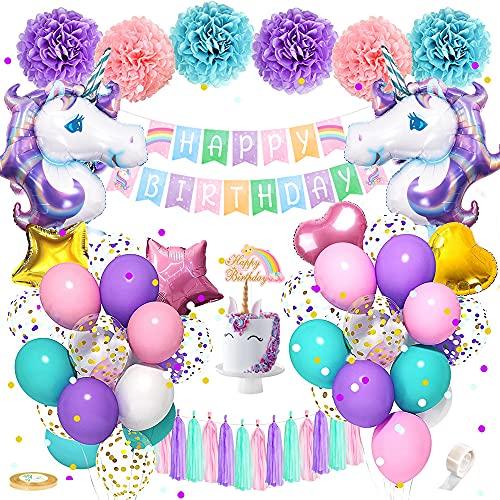 Unicornio Decoración de Cumpleaños para Niña, Rosa Azul Morado Feliz Cumpleaños Conjunto de Unicornio Papel de aluminio Globo Látex Confeti Fiesta en globo Decoración Chica Novia