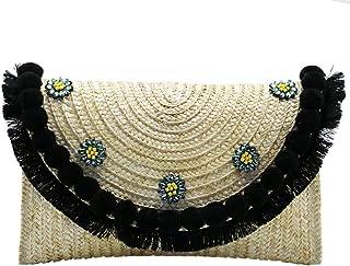 Women's Beach Bag Straw Clutch Handbag Messenger Bag Envelope Bag Pom Pom Tassel Crossbody Shoulder Bag