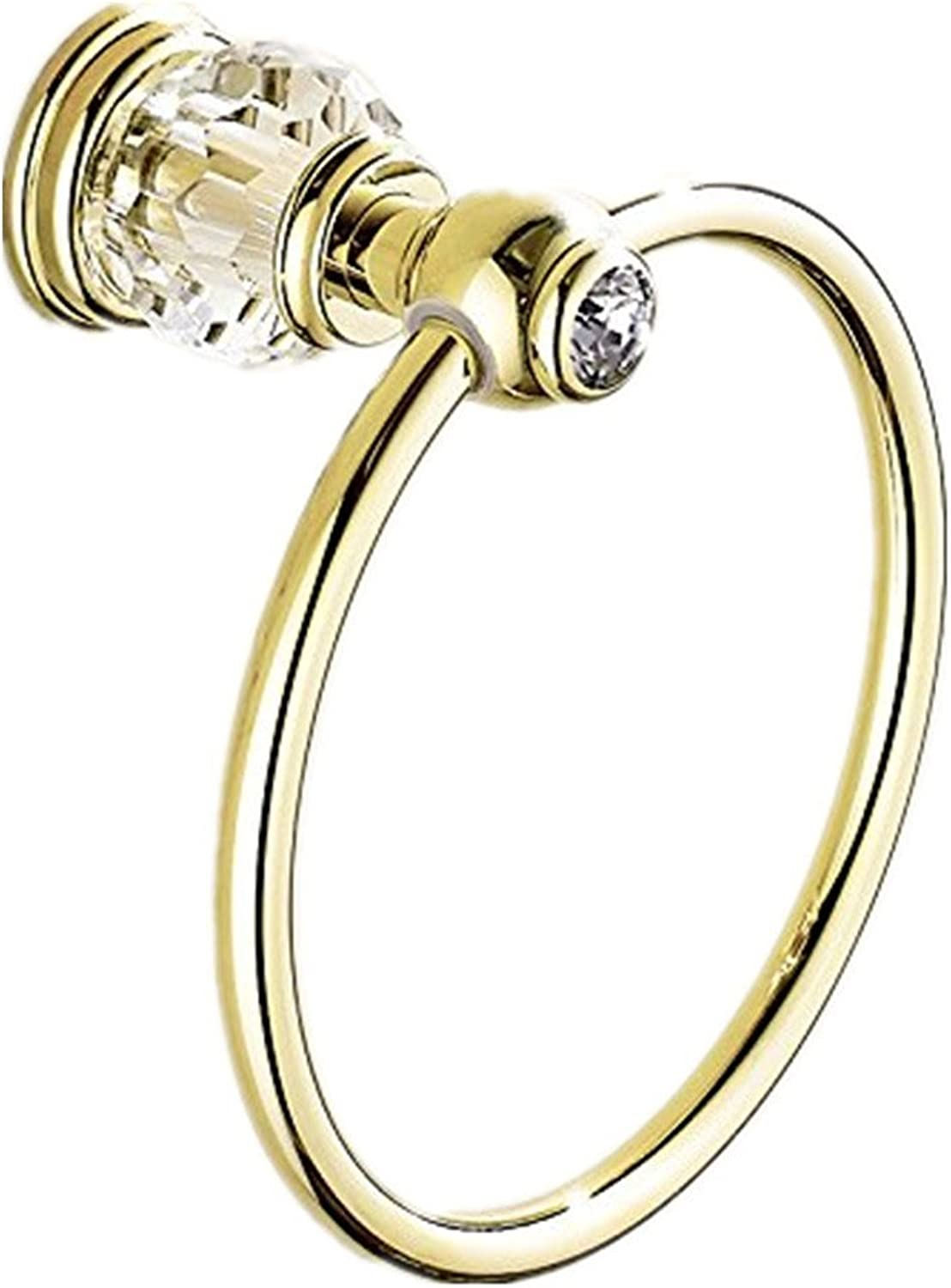 AUSWIND gold Polished Towel Rings, Antique Brass Wall Mounted with False Clear Crystal Decorate