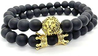 Gemstone Black Crown Lion Set King Queen CZ Zirconia 14K Gold-Plated Men Women Charm Natural Stone Beads Handmade Bracelet...