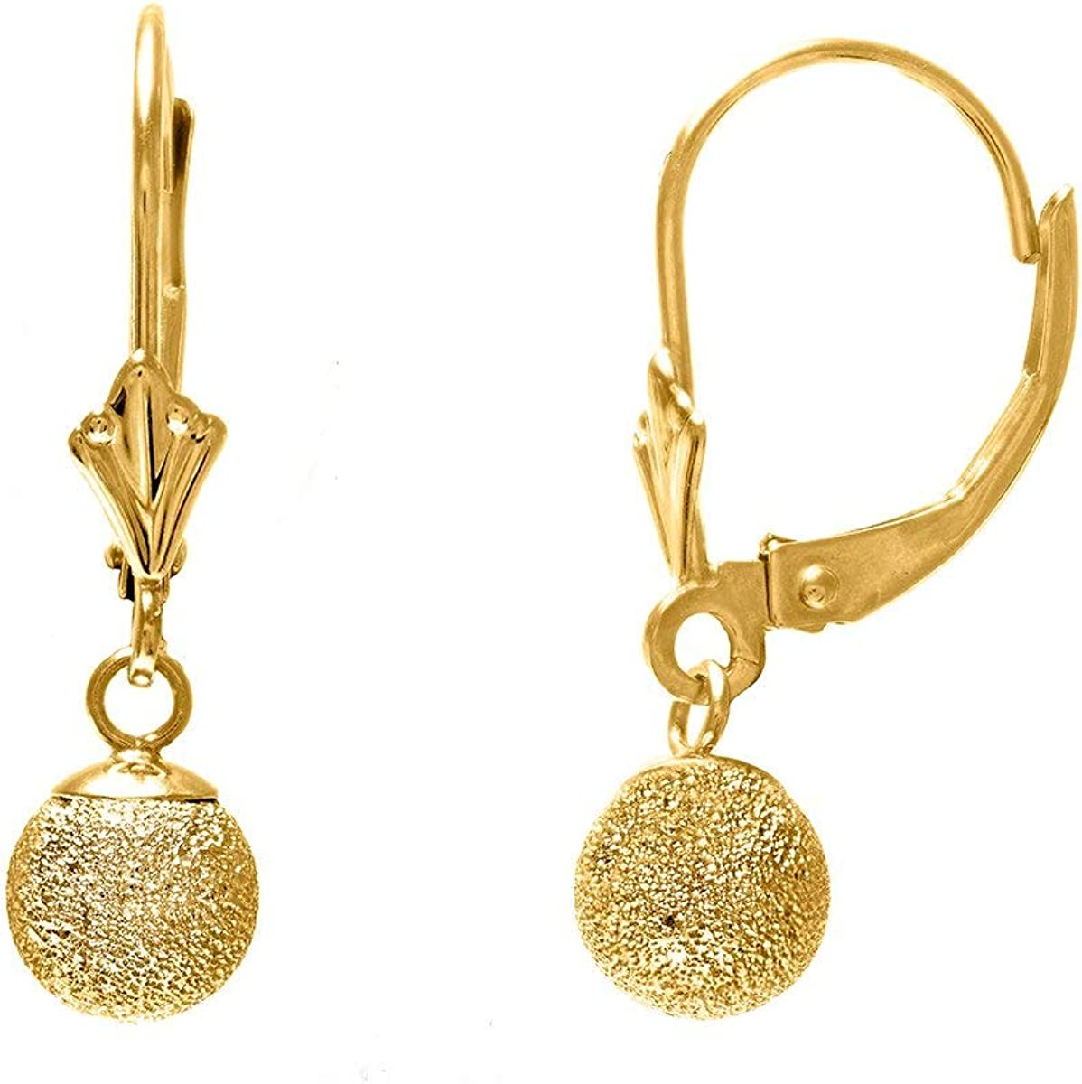 14k Real Yellow Gold 6mm Textured Financial sales sale Dangle Earring Lever Fixed price for sale Ball Back