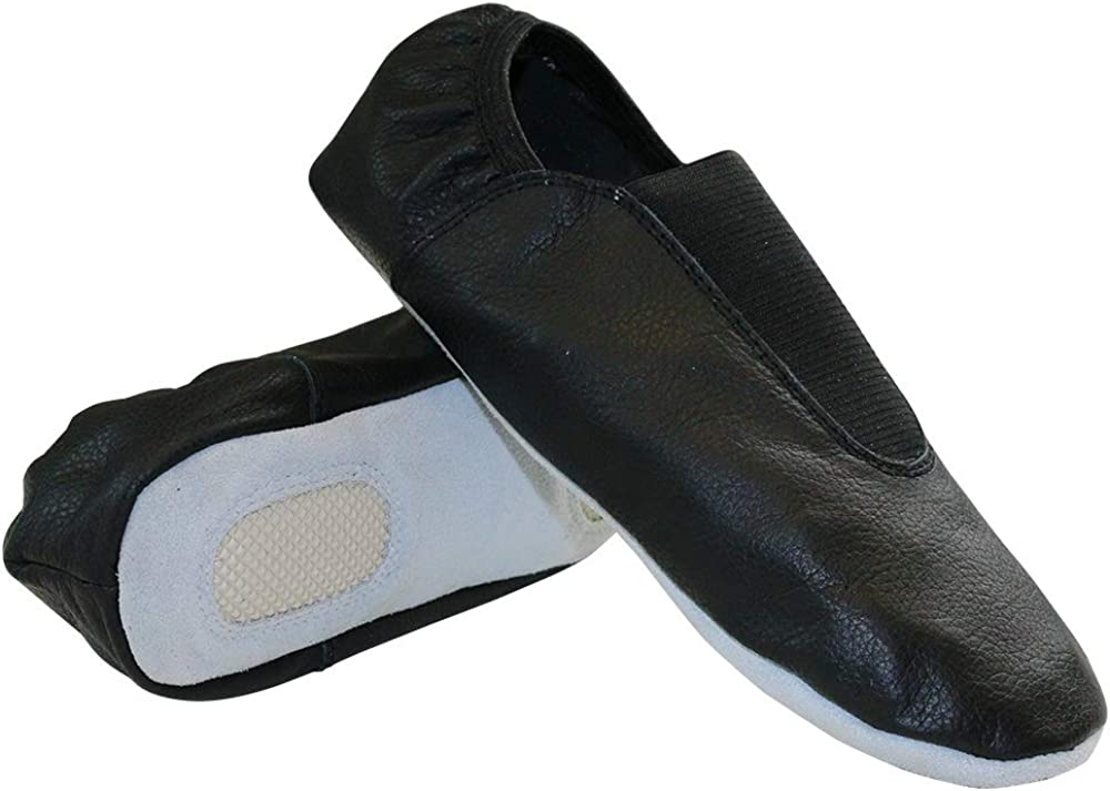 Danzcue Adult Black Leather Gymnastic Shoes