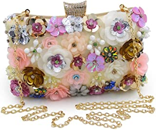Fashion Flower Beaded Dinner Clutch Bag Ladies Diamond Evening Bag Ladies Dress Wedding Bride Chain Shoulder Messenger Bag Size: 20 * 6 * 14CM Fashion (Color : Gold)