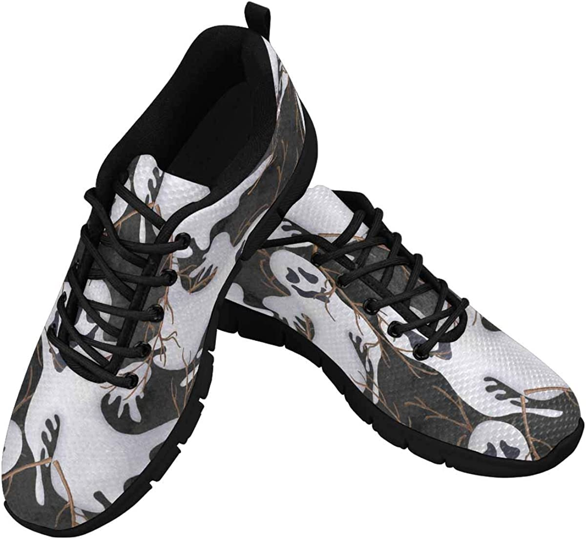 INTERESTPRINT White Ghosts Branches Women's Athletic Walking Shoes Comfort Mesh Non Slip