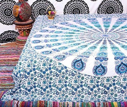 1 x paon indien Mandala Tapisserie, mur indienne Suspendre, indienne Hippie Bohème Tapisserie, mur, reine couvre-lit Décor Art par Labhanshi
