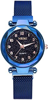 Fashion Starry Sky Flat Glass Quartz Mesh with Magnetic Buckle Ladies Watch