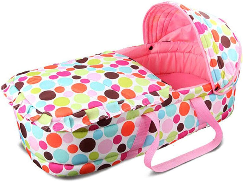 Portable Baby Cradle Sleeping Basket Newborn Baby Sleeping Basket 0-7 Months Babies (color   PINK)