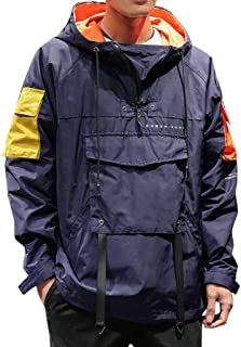 Men's Hoodie Pullover Autumn Casual Fashion Patchwork Pocket Drawstring Sport Outwear Coat