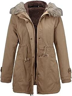 🍒 Spring Color 🍒 Women's Winter Long Sleeve Solid Color Jacket Big Fur Collar Warm Casual Outwear Hoodie Coat