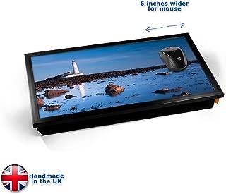 KICO Lighthouse Rocks Coast Sea Seaside View Cushioned Bean Bag Laptop Lap Tray Desk - Built-in EMF Shield (Electro Magnetic Field) - Black Frame