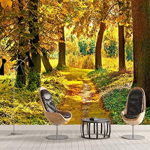 3D HD bosque de otoño hoja de arce Mural naturaleza foto papel tapiz sala de estar comedor decoración interior romántica papel tapiz no tejido-300x210cm