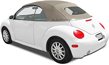 AutoBerry Compatible Replacement Convertible Top & Heated Glass Window for VW For Volkswagen Beetle Power Tops 2003-2009 Tan Stayfast Cloth