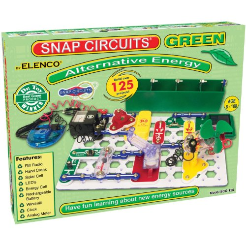 Snap Circuits Green Alternative Energy Electronics Exploration Kit | Over 125 STEM Projects | Full Color Project Manual | 40 Snap Circuits Parts | STEM Educational Toys for Kids 8