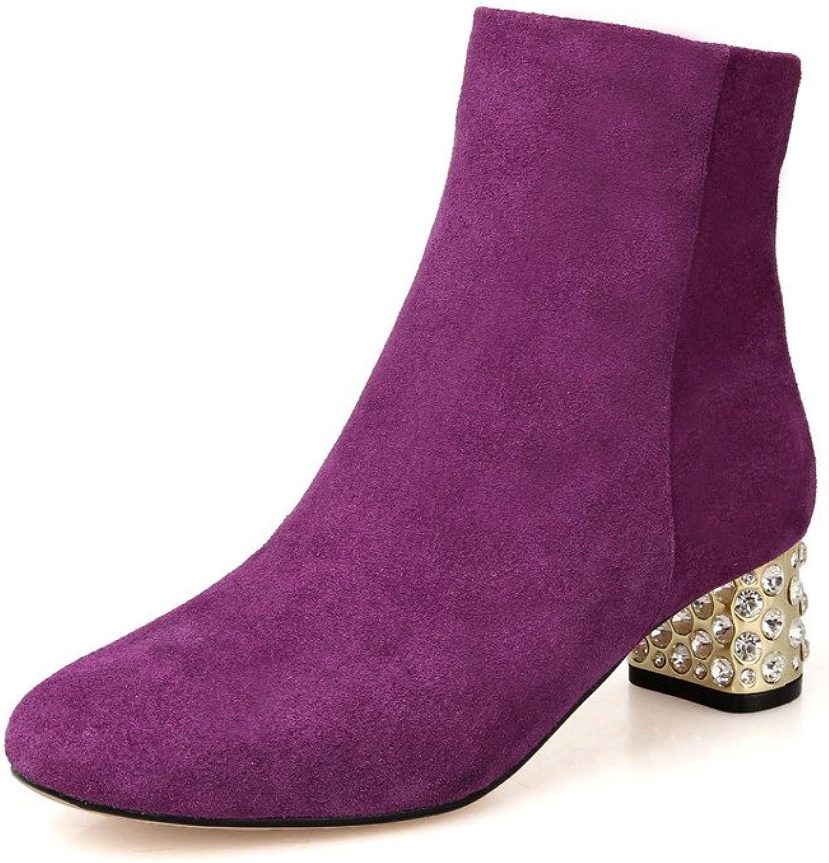 Nine Seven Suede Women's Round Toe Chunjy Heel Rhinestone Handmade Ankle Boots