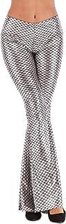 XINHEO Women Satin Flare Bell Bottom Slacks Clubwear Fish Scales Pants