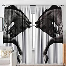 Petpany Blackout Curtains Sculptures,Twin Contrast Horse Heads Statue Image Vintage Style Abstract Art Antique Theme,Bronze,Rod Pocket Curtain Panels for Bedroom & Kitchen 54