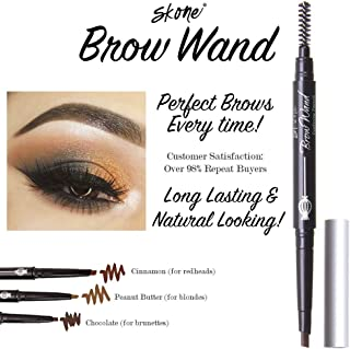 Skone Totally Defined Waterproof Eyebrow Wand - Designer, Long Lasting, Smudgeproof Eyebrow Wand with Retractable Pencil for Perfectly Arched Eyebrows Everytime - Chocolate (for Brunettes)