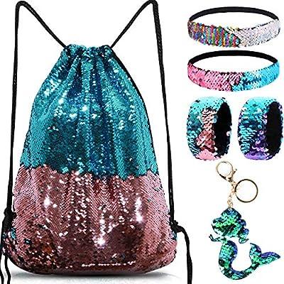 Mermaid Reversible Sequin Drawstring Backpack/Bag Blue/Pink for Kids Girls