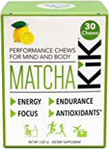 Matcha KiK Performance Chews - Energy, Endurance, Mental Focus, Antioxidants - Lemon Flavor - 30 Chews per Box - for Sport Performance and The Workplace - Vegan, Gluten Free, Keto-Friendly
