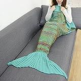 CAMMITEVER Crochet Knitted Mermaid Tail Blanket Super Soft All Season Sleeping Bag for Girls Adults Teens Women Baby Girl Gift (Green)
