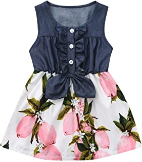 HANANei 6M-4Years Baby Dress Infant Toddler Baby Girls Solid Strap Backless Princess Sundresses Outfits