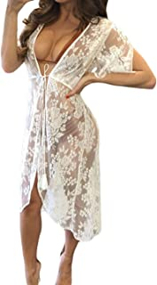 Womens Sexy Floral Sheer Lace Bikini Cover up Summer Beach Dress