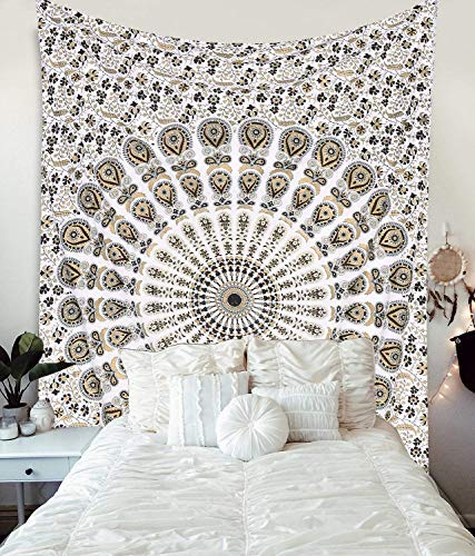 MY DREAM CARTS oro negro tapiz tapiz manta mandala india tapices algodón colcha de picnic bedsheet hippie