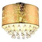 Plafoniera in cristallo illuminazione soggiorno lampada foglia oro design in un set comprensivo di lampadine a LED