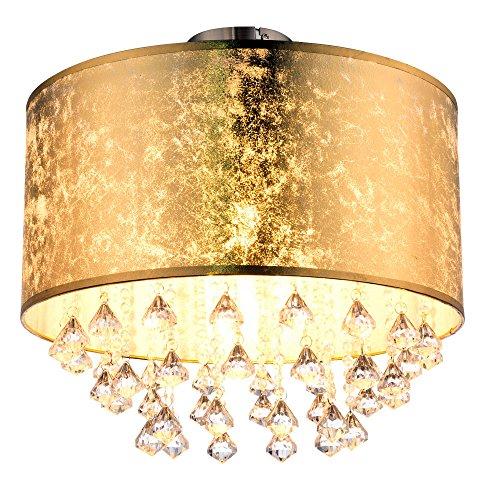 Kristall Decken Lampe Wohn Ess Zimmer Beleuchtung Stoff Leuchte Blattgold Design Globo 15187D3