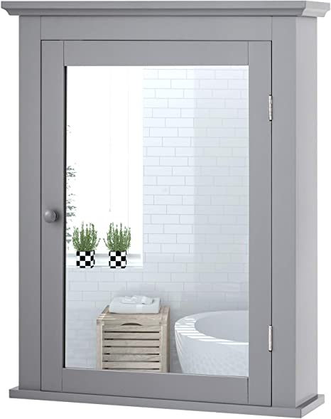 Amazon Com Tangkula Bathroom Cabinet With Mirror Mirrored Wall Mounted Storage Medicine Cabinet With Single Door Adjustable Shelf In 5 Positions Multipurpose Wall Cabinet For Bathroom Vestibule Gray Home Kitchen