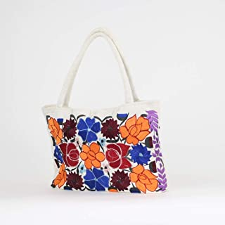 Mexican Embroidered Handbag White, Mexican Embroidered Purse, Boho Purse