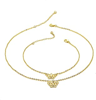 ATIMIGO Butterfly Necklace Ankle Bracelet 24k Gold Plated Tiny Butterfly Charm Pendant Necklace Anklet Cute Adjustable Cha...