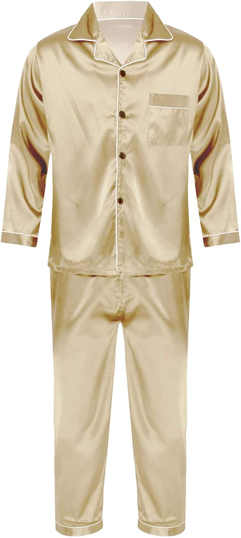 Mufeng Mens Silk Satin Pajamas Set Long Sleeve Loungewear Button Closure Satin Sleepwear Nightwear