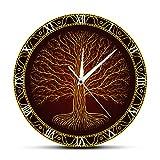AILY Árbol de Viking Life Pared De ClockWall, Mystic Amuleto Arte de la Pared Decoración del Reloj de Pared silencioso de la Familia/Restaurante/Cafetería/baño/Cuarto de niños