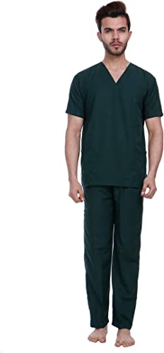 Proexamine Surgicals Men's and Women's V-Neck 3 Pocket Top and Cargo Type Trouser Scrub Suit Set (Hunter Green, 38/Me...