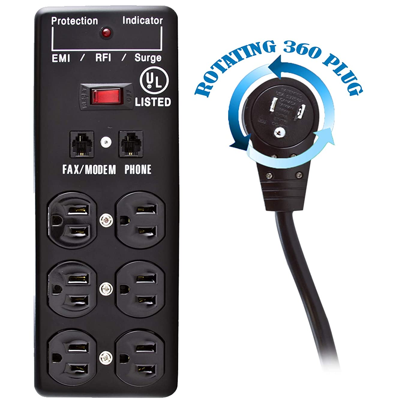 GOWOS Surge Protector - 10 Feet, Black - 6 Outlet Flat Rotating Plug Metal Commercial Grade 1 X3 MOV EMI & RFI Outlets with Power Cord