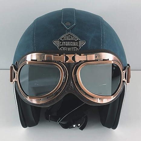 55-65cm Traspirante Removibile con Goggle Adatto per Donna e Uomo Adulto LALEO Fatto a Mano personalit/à PU Cuoio Retro Harley Open Face Casco da Moto Casco Jet Omologato ECE S-XXXL